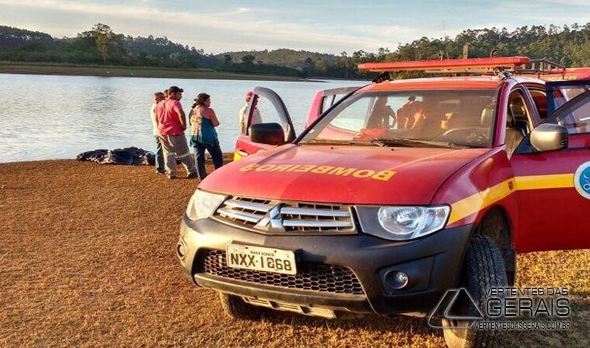 Homem desapareceu em barragem no distrito de São João da Serra, em Santos Dumont (Foto: Corpo de Bombeiros/Divulgação )