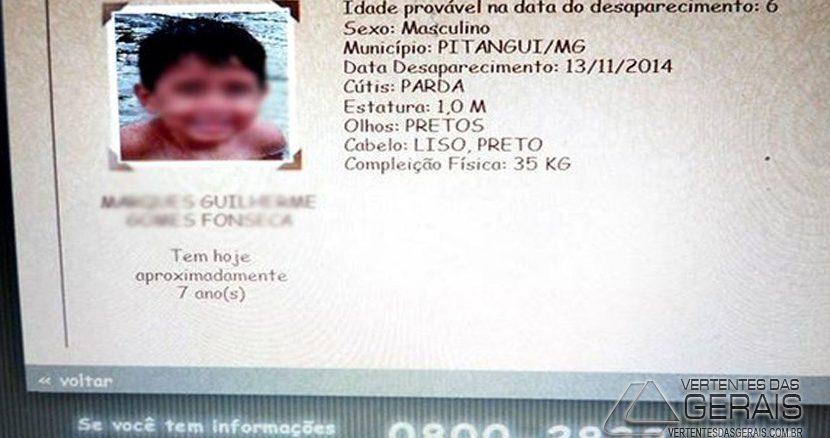 Criança encontrada em Caldas, MG, tinha 6 anos na época em que entrou para o cadastro de desaparecidos (Foto: Arquivo de família/Divulgação)