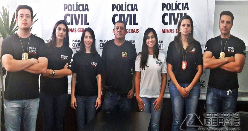 Equipe responsável pela prisão do suspeito de homicídio.