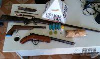 Armas apreendidas em Itaverava.